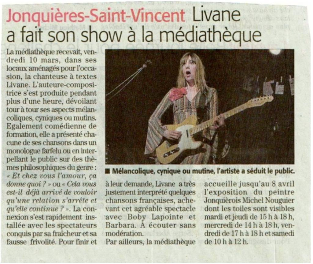 Livane a fait son show à la médiathèque de Jonquières-Saint Vincent dans le Gard