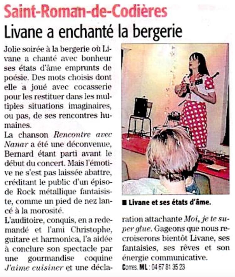 Livane a enchanté la bergerie à Saint-Roman-de-Codières