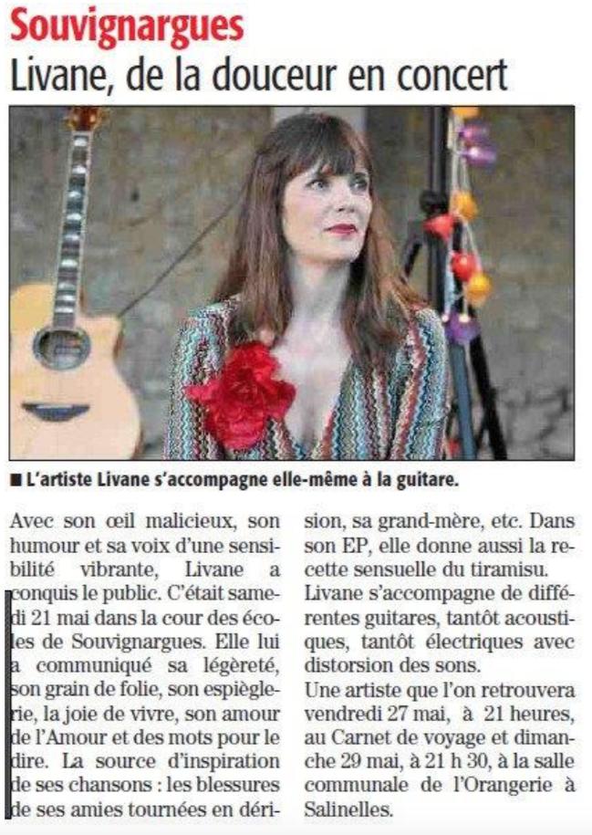 Livane à Souvignargues dans le Gard. De la douceur en concert